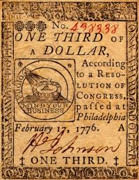 continental currency one third dollar 17 feb 76 obv